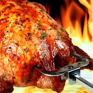 Delicious aroma of spit-roasting