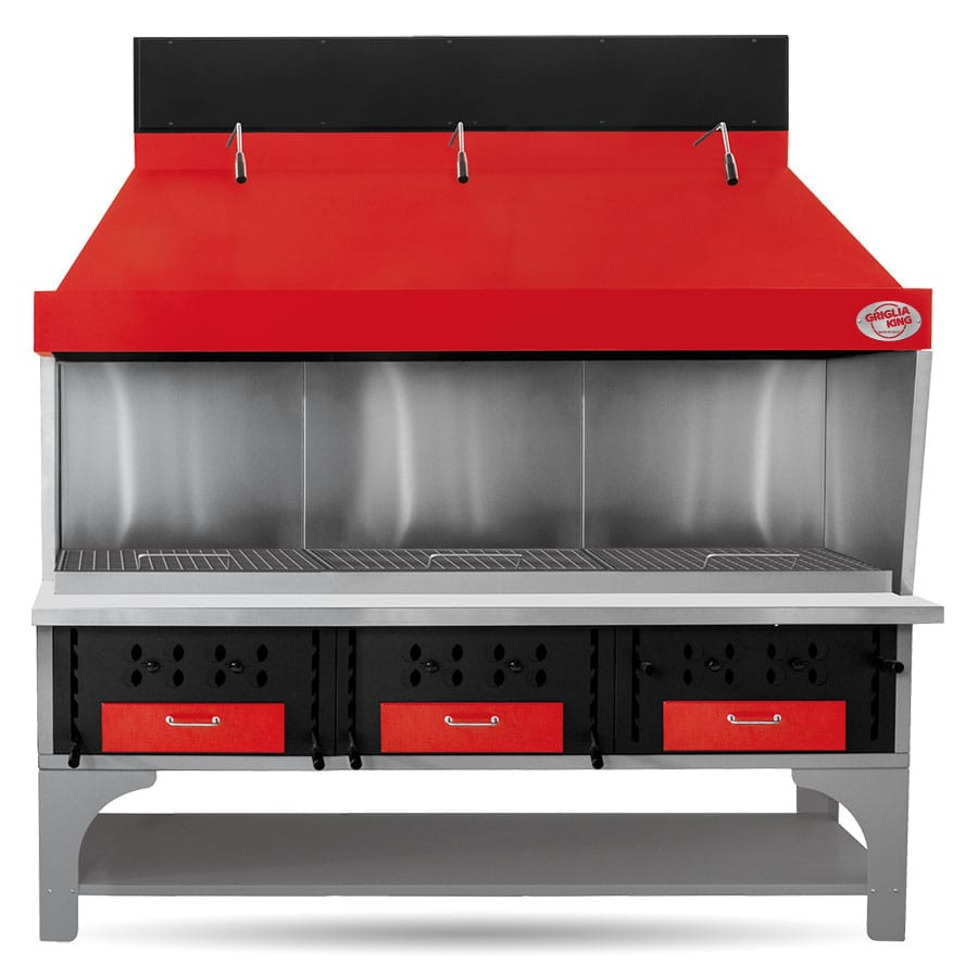 Triple charcoal grill for restaurants and steakhouses